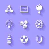 Set of white physics icons. — Stock Vector