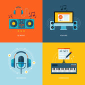 Set of flat design concept icons for music industry. — Stock Photo