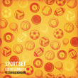 Vector sports seamless background. Sports equipment colored pattern. — Stock Photo #50410359
