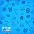 Vector sports seamless background. Sports equipment colored pattern. — Stock Photo #50410447