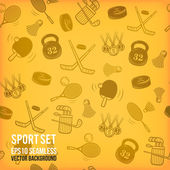 Vector sports seamless background. Sports equipment colored pattern. — Photo