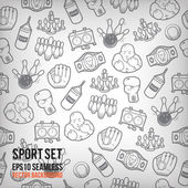 Vector sports seamless background. Sports equipment colored pattern. — Stock Photo