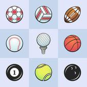 Kolorowe wektor sportowe piłki — Zdjęcie stockowe