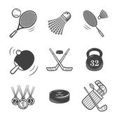 Collection of vector icons. Sport equipment. — Stock Photo