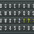 Airport arrival table alphabet with characters and numbers. — Vector de stock  #50584875