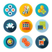 Set of flat casino icons. — Stock Vector