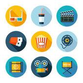 Set van platte cinema en film pictogrammen. — Stockvector