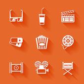 Set of white cinema movie icons. — Stock Vector