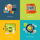 Set of flat design concept icons for entertainment kinds. — Stock Vector
