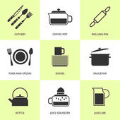 Set of black cutlery and dishes icons. — Stock Vector