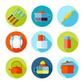 Set of flat cutlery and dishes icons. — Stock Vector