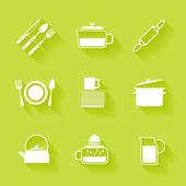 Set of white cutlery and dishes icons. — Stock Vector