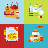Set of flat design concept icons for food and tableware. — Stock Vector