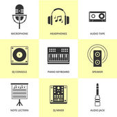 Set of black music and sound icons. — Stock Vector