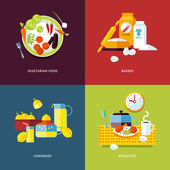 Set of flat design concept icons for food and drinks. — Stock Vector