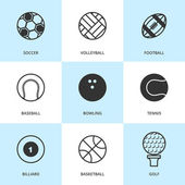 Set of black sports icons. — Vettoriale Stock