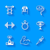 Set of white sports icons. — Stock Vector