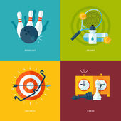 Set of flat design concept icons for sports kinds. — Stock Vector