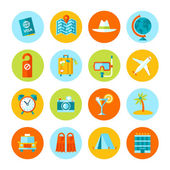 Set of flat vector travel and tourism icons. — Vecteur