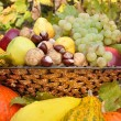 Colorful autumn fruits and vegetables composed in dish — Stock Photo