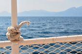 钢船栏杆海洋结详细 — 图库照片