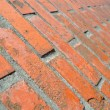 Brick wall in close up and in perspective — Stok fotoğraf