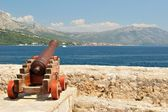Old cannon at old fortress in medieval town Korcula — Stock Photo