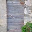 Old, abandoned, gray, wooden door on building — Stock Photo