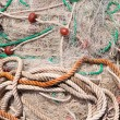 Texture of pile of fishing nets with floats — Stock Photo
