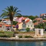 Buildings and palm tree in Vrboska. Croatia — Stock Photo #37688397