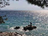 Statue of the mermaid in Podgora in afternoon. Croatia — Stock Photo