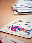 Detail view of poker cards, focused on Joker — 图库照片