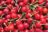 Textur aus gruppe der rote reife kirschen — Stockfoto