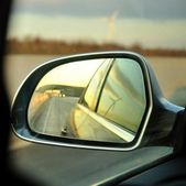 Left side s rear vision mirror of the car — Stok fotoğraf