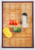Raw material set on a bamboo mat — Stock Photo