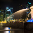 SINGAPORE-DEC 27: Night view from the Merlion fountain Dec. 27, — Stock Photo