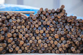 Steel rods or bars used to reinforce concrete, closeup — Foto Stock