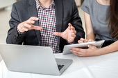Businesspeople  talk to each other. — Stock Photo