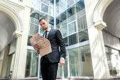 Morning business news. Business man formal wear standing in down — Stock Photo