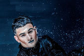 Man  with stylish make-up in water splash — Stock Photo