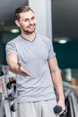 Instructor invites to workout — Стоковое фото