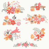 Set of seven cute floral bouquets — Stock Vector