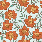 Seamless texture with marigold flowers — Vector de stock
