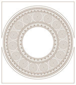 Mucha inspired round mosaic ornament colorless — Stock Vector