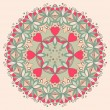 Ornamental round flower pattern with hearts — Imagen vectorial