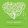 I love nature heart tree symbol — Stock Vector