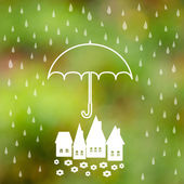 Symbol of umbrella protection from rain drops — Stock Vector