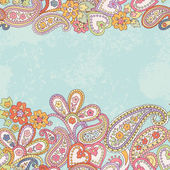 Hand drawn decorative horizontal seamless pattern with paisley — 图库矢量图片