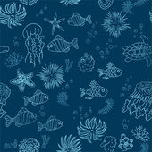 Hand drawn sea theme background — Vecteur