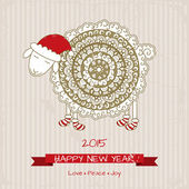 2015, Happy new year greeting card with cute sheep in Christmas — Stock Vector